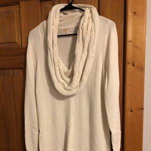 MICHAEL KORS Ivory Long Cowlneck Sweater